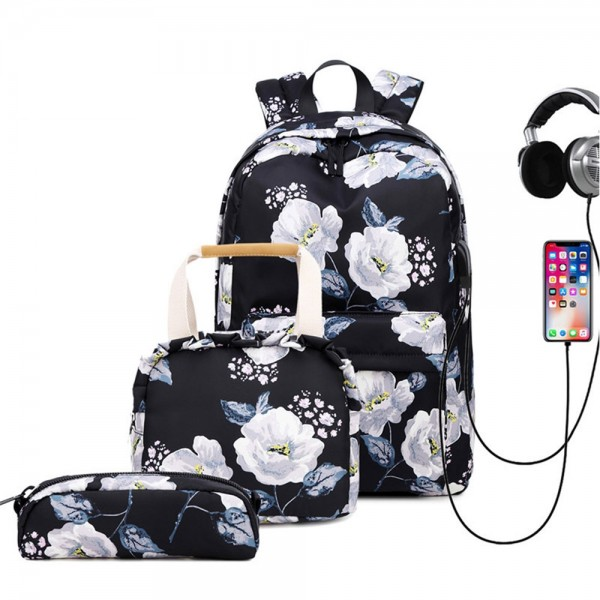 Fashion Backpack Set for Girls High School Bag with Lunch Bag Laptop Backpack with USB Charging Port