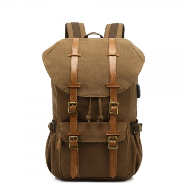Cool Retro Outdoor Backpack with USB Charger Canvas Travel Bag Hiking Bag Top Level