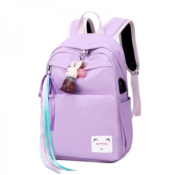 Teen Girls' Pretty Candy Color Drawstring Backpack with USB Charging Port